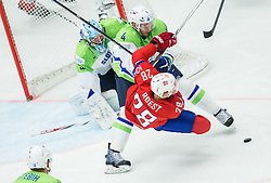 Andrej Tavzelj of Slovenia vs Niklas Roest of Norway during Ice Hockey match between Slovenia and Norway at Day 8 in Group B of 2015 IIHF World Championship, on May 8, 2015 in CEZ Arena, Ostrava, Czech Republic. Photo by Vid Ponikvar / Sportida