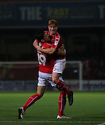Swindon Raphael Rossi Branco (29) celebrates scoring the first goal 1-0 during the EFL Trophy match between Swindon Town and U23 Chelsea at the County Ground, Swindon, England on 13 September 2016. Photo by Gary Learmonth.