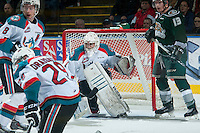 KELOWNA, CANADA - JANUARY 23: Jackson Whistle #1 of Kelowna Rockets defends the net against the Everett Silvertips on January 23, 2015 at Prospera Place in Kelowna, British Columbia, Canada.  (Photo by Marissa Baecker/Shoot the Breeze)  *** Local Caption *** Jackson Whistle;