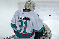 KELOWNA, CANADA - JANUARY 9: Brady Lenardon #31 of the Kelowna Rockets warms up against the Tri City Americans on January 9, 2016 at Prospera Place in Kelowna, British Columbia, Canada.  (Photo by Marissa Baecker/Shoot the Breeze)  *** Local Caption *** Brady Lendardon;