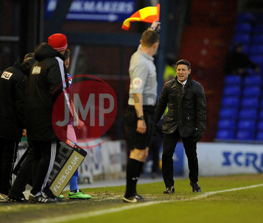 Oldham Athletic Manager, Lee Johnson appeals for a penalty - Photo mandatory by-line: Joe Meredith/JMP - Tel: Mobile: 07966 386802 08/02/2014 - SPORT - FOOTBALL - Oldham - Boundary Park - Oldham Athletic v Bristol City - Sky Bet League One