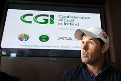 REPRO FREE: 06/05/2014 Dublin P&aacute;draig Harrington, three-time Major winner is pictured at the unveiling of the new Development Plan from the Confederation of Golf in Ireland (CGI), the body set up to support, promote and develop the game of golf on the island of Ireland. The Development Plan outlines the organisation&rsquo;s strategic vision for the future of golf in Ireland. <br /> <br /> The CGI will work in partnership with Irish golf clubs to help them broaden their membership base by offering  services, training, education and promotional initiatives, such as &lsquo;Get into Golf&rsquo; and &lsquo;Get Back into Golf&rsquo; programmes, which will introduce new participants to the game and encourage others who have left the sport to return.<br /> <br /> A not-for-profit body, the CGI was created last year by the Golfing Union of Ireland (GUI), the Irish Ladies Golf Union (ILGU) and the Professional Golfers Association (PGA) to complement the work of the three associations in advancing the sport of golf in Ireland. Picture Andres Poveda<br /> <br /> ENDS<br /> <br /> For more details on CGI events taking place in your area, check out www.cgigolf.org<br /> <br /> For more details, please contact:<br /> Breda Brown / Tara Humphreys, Unique Media<br /> Tel: (01) 522 5200 or 087 2487120 (BB)
