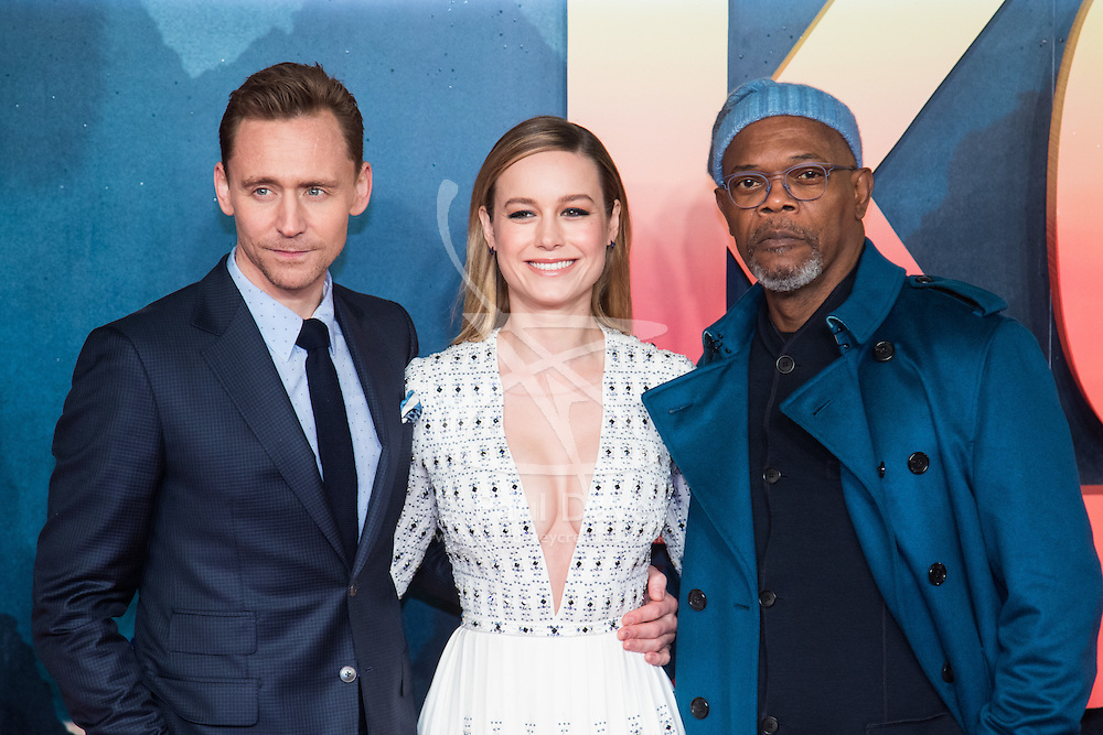 Leicester Square, London, February 28th 2017. Celebrities, VIPs and cast members of Kong: Skull Island, a Warner Brothers release, gather on the red carpet ahead of the film's European Premiere in London. The film stars Tom Hiddleston, Brie Larson, Samuel L Jackson, Tom C Reilly, Toby Kebbel and is directed by Jordan Vogt-Roberts. PICTURED: Tom Hiddleston, Brie Larson, Samuel L Jackson