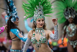 © Licensed to London News Pictures. 30/12/2018. London, UK. Dancers from the London School of Samba perform at a preview ahead of the London New Year's Day Parade. More than 8,000 performers from 26 countries will take part in the parade on 1st January 2019. Photo credit: Rob Pinney/LNP