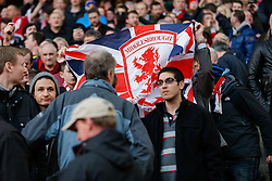 Middlesbrough supporters in the away stand - Photo mandatory by-line: Rogan Thomson/JMP - 07966 386802 - 15/02/2015 - SPORT - FOOTBALL - London, England - Emirates Stadium - Arsenal v Middlesbrough - FA Cup Fifth Round Proper.