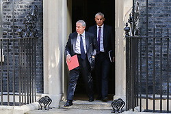 © Licensed to London News Pictures. 25/07/2019. London, UK. Attorney General GEOFFREY COX (L) and Brexit Secretary STEPHEN BARCLAY (R) departs from No 10 Downing Street after attending Boris Johnson's first cabinet meeting. Photo credit: Dinendra Haria/LNP