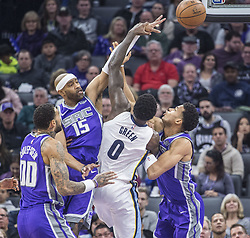 December 31, 2017 - Sacramento, CA, USA - The Sacramento Kings' Vince Carter (15) strips the ball from the Memphis Grizzlies' JaMychal Green (0) on Sunday, Dec. 31, 2017, at the Golden 1 Center in Sacramento, Calif. (Credit Image: © Hector Amezcua/TNS via ZUMA Wire)