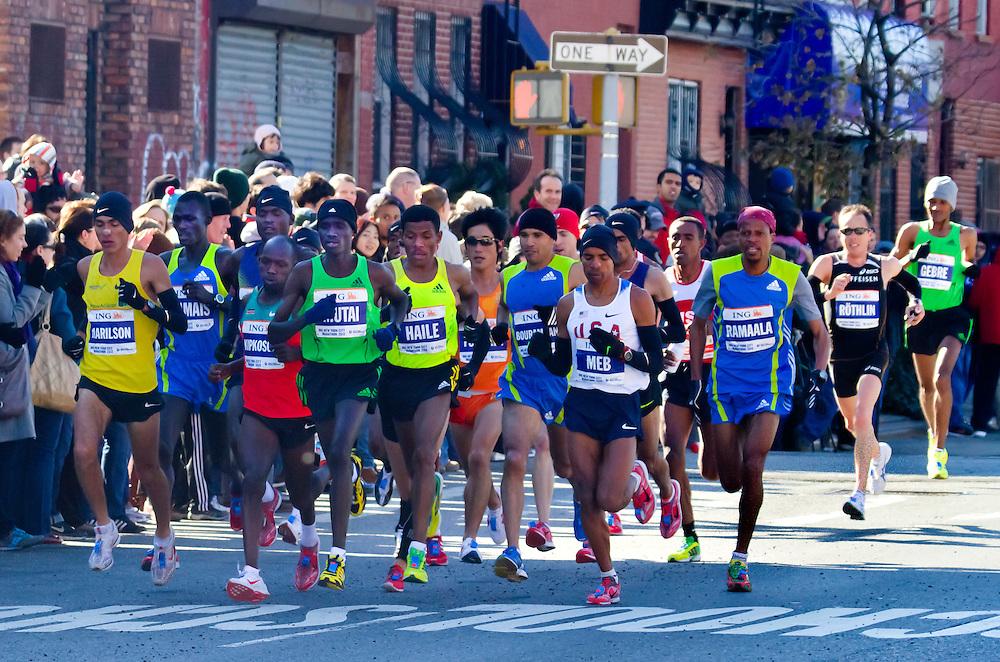 NYC Marathon, 2010. Men's lead pack.