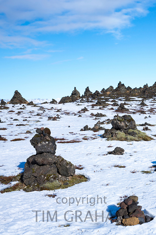 Lauskalavarda, a lava ridge with stone cairns and volcanic lava mounds between Vik and Kirkjubaejarklaustur close by Katla volcano in South Iceland