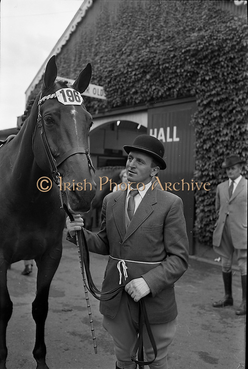 "07/08/1962 <br /> 08/07/1962 <br /> 07 August 1962 <br /> Dublin Horse show at the RDS, Ballsbridge, Dublin, Tuesday. Image shows ""Moygannon"", a six year old bay gelding owned by Mrs R.G. Garland of Clooneavin, Warrenpoint, Co. Down, winner of Weight-Carrying Hunter Class 11, shown by Mr Jack McLearnon."