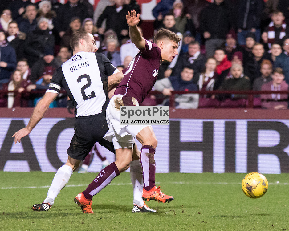 Dundee United's Sean Dillon looks on as Heart of Midlothian's Gavin Reilly gets past him and into the box......(c) MARK INGRAM | SportPix.org.uk