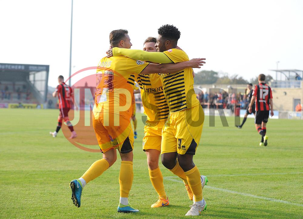 Bristol Rovers celebrate Ellis Harrison goal - Mandatory byline: Neil Brookman/JMP - 07966 386802 - 03/10/2015 - FOOTBALL - Globe Arena - Morecambe, England - Morecambe FC v Bristol Rovers - Sky Bet League Two