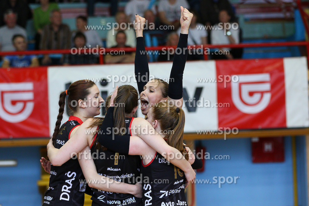 Players of Nova KBM Branik during volleyball game between Calcit Kamnik and Nova KBM Branik in 4th leg of Finals of Slovenian National Championship 2015, on April 14, 2015 in Sportna dvorana, Kamnik, Slovenia. Photo by Matic Klansek Velej / Sportida