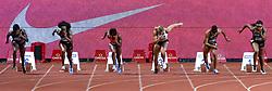 July 20, 2018 - Monaco, France - 100 metres femme - Murielle Ahoure (cote d ivoire) - Elaine Thompson (Jamaique) - Marie Josee Ta Lou (Cote d Ivoir) - Dafne Schippers (Hollande) - Mujinga Kambundji (Suisse) - Blessing Okagbare Ighoteguonor  (Credit Image: © Panoramic via ZUMA Press)