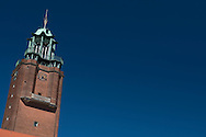 A view of Frederiksberg Rådhuset Tower on a clear sunny day with blue skies