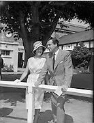 "02/08/1960<br /> 08/02/1960<br /> 02 August 1960<br /> R.D.S Horse Show Dublin (Tuesday). U.T.V.'s ""Robin Hood' Richard Greene and wife Mrs Beatriz Summers honeymooning in Dublin, pictured at the Horse Show."
