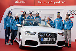 24.10.2013, Audi Lounge, Soelden, AUT, FIS Ski Alpin, Soelden, im Bild Team Austria during the Audi press conference prior to the alpine skiing world cup opening race at the Audia Lounge, Soelden, Austria on 2013/10/22. EXPA Pictures © 2013, PhotoCredit: EXPA/ Mitchell Gunn<br /> <br /> *****ATTENTION - OUT of GBR*****