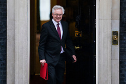 © Licensed to London News Pictures. 01/03/2018. London, UK. Secretary of State for Exiting the European Union David Davis on Downing Street after a meeting of the Cabinet ahead of Prime Minister Theresa May's speech on Brexit. Photo credit: Rob Pinney/LNP