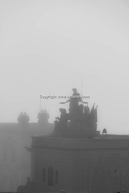 Portugal. Lisbon. elevated view on praca do Coimmercio in the fog