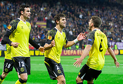 Vicente Iborra of Sevilla, Federico Fazio of Sevilla and Daniel Carrico of Sevilla celebrate during football match between NK Maribor and Sevilla FC (ESP) in 1st Leg of Round of 32 of UEFA Europa League 2014 on February 20, 2014 at Stadium Ljudski vrt, Maribor, Slovenia. Photo by Vid Ponikvar / Sportida