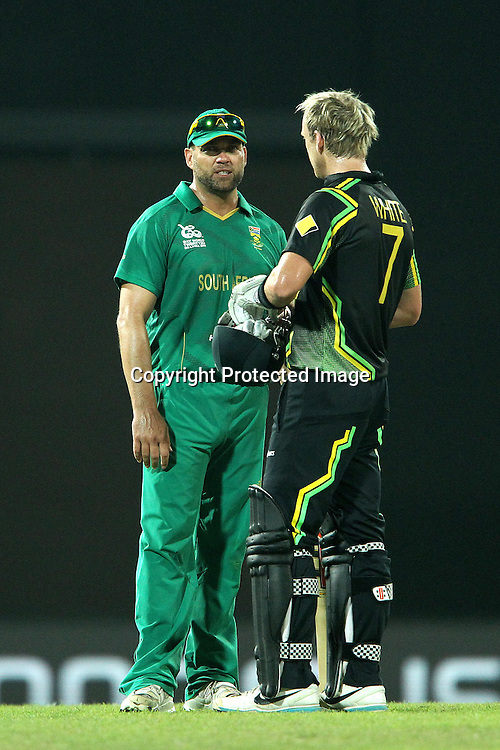 Jacques Kallis chats with Cameron White after the match during the ICC World Twenty20 Super 8s match between Australia and South Africa held at the Premadasa Stadium in Colombo, Sri Lanka on the 30th September 2012<br /> <br /> Photo by Ron Gaunt/SPORTZPICS