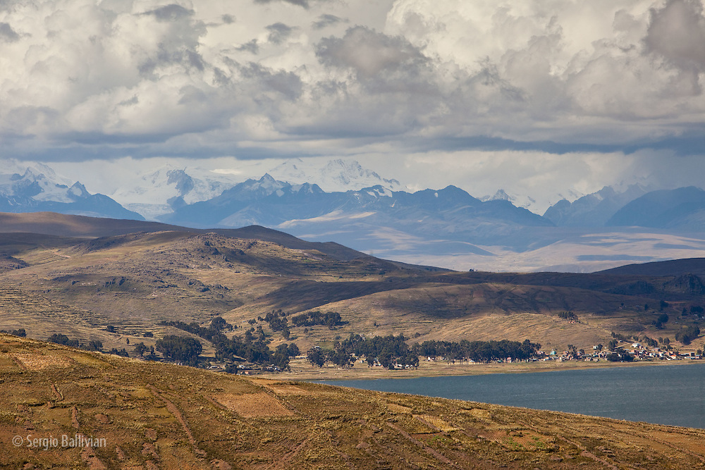 The Cordillera Real mountain range as seen from Lake Titicaca, Bolivia