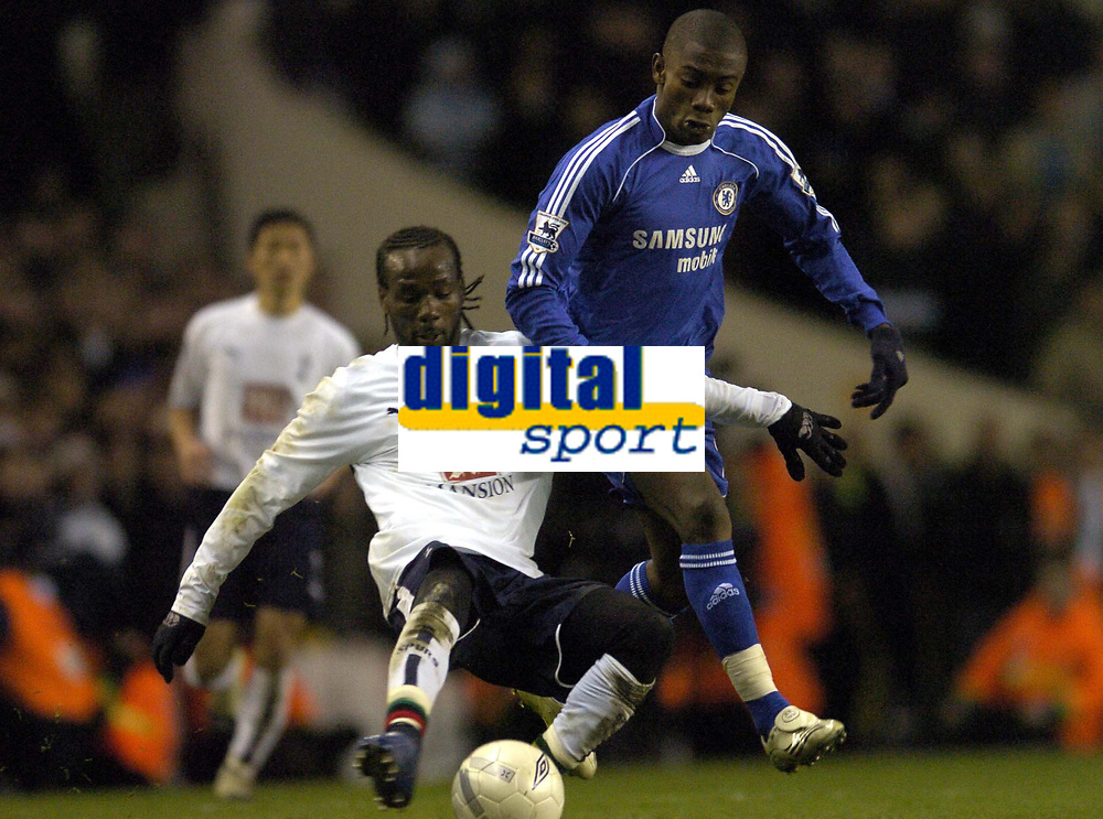 Photo: Olly Greenwood.<br />Tottenham Hotspur v Chelsea. The FA Cup, Quarter Final replay. 19/03/2007. Chelsea's Solomon Kalou and Spurs Pascal Chimbonda