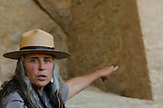 A Park Ranger gives a cultural tour to visitors at Mesa Verde National Park, a native merican site knowen for it's expansive cliff dwellings, in Southwest Colorado.
