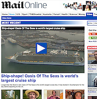 Royal Caribbean International's Oasis of the Seas Southampton visit cuttings.<br /> Daily Mail 161014 website. (aerial vid)
