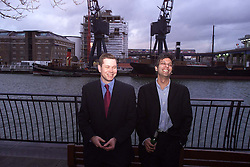 Canary Wharf..'City Slickers' who were both sacked today..L to R  James Hipwell, Anil Bhoyrul , February 18, 2000. Photo by Andrew Parsons / i-images..
