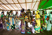 Refugees from Central African Republic wait in line for food distribution at the Garga Sarali integrated health center in the town of Garga Sarali, near Bertoua, Cameroon, on Tuesday September 15, 2009.