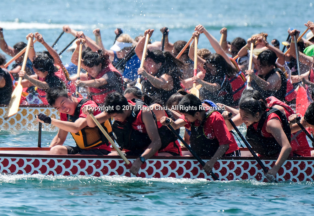 Dragon Boat racers compete at Long Beach Dragon Boat Festival at Marine Stadium in Long Beach, California, on July 30, 2017. (Photo by Ringo Chiu)<br /> <br /> Usage Notes: This content is intended for editorial use only. For other uses, additional clearances may be required.