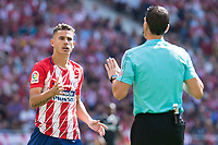 Atletico de Madrid's Lucas Hernanez talking with the referee during La Liga match between Atletico de Madrid and Sevilla FC at Wanda Metropolitano Stadium in Madrid, Spain September 23, 2017. (ALTERPHOTOS/Borja B.Hojas)
