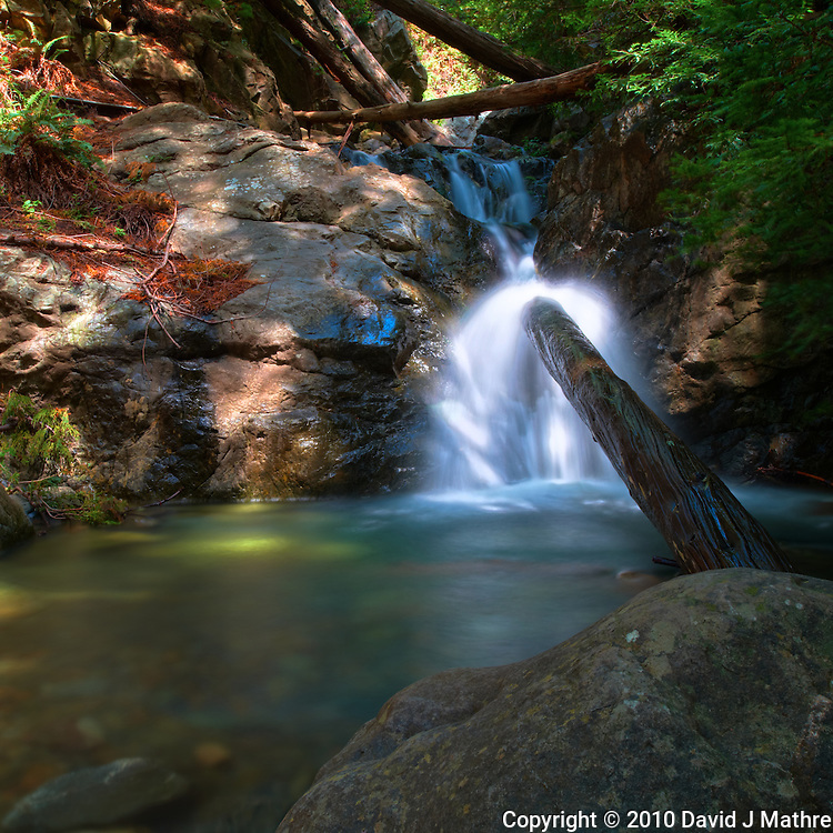 Redwood Gulch Waterfall, HDR Exercise. Image(s) taken with a Nikon D3x and 24 mm f/3.5 PC-E lens Singh-Ray filters (ISO 100, 24 mm, f/16, 2.5 to 30 sec). Raw image processed with Capture One Pro, HDR Express: Optimal.