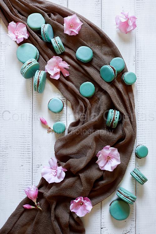 Top view of macaron cookies and pink oleander flowers.