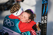PYEONGCHANG-GUN, SOUTH KOREA - FEBRUARY 15: Jessica Diggins of USA hugs Ragnhild Haga of Norway during the women's 10k free technique Cross Country competition at Alpensia Cross-Country Centre on February 15, 2018 in Pyeongchang-gun, South Korea. Photo by Nils Petter Nilsson/Ombrello               ***BETALBILD***