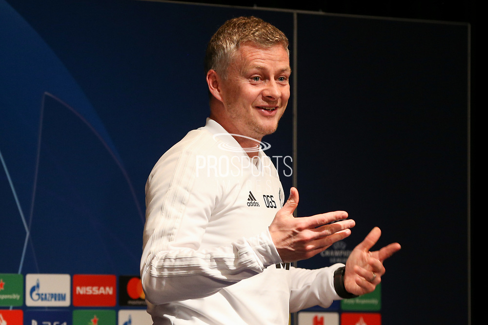 Manchester United interim Manager Ole Gunnar Solskjaer gestures during the Manchester United Press Conference ahead of the Champions League match between Paris Saint-Germain and Manchester United at Parc des Princes, Paris, France on 5 March 2019.