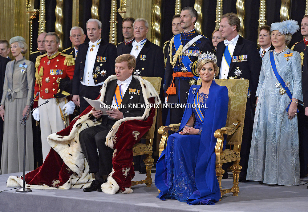 "30.04.2013; Amsterdam: KING WILLEM-ALEXANDER AND QUEEN MAXIMA.King Willem-Alexander takes the oath next to his wife Queen Maxima at Nieuwe Kerk, Amsterdam, The Netherlands, during the inauguration ceremony..Mandatory Credit Photos: ©Dejong/NEWSPIX INTERNATIONAL..**ALL FEES PAYABLE TO: ""NEWSPIX INTERNATIONAL""**..PHOTO CREDIT MANDATORY!!: NEWSPIX INTERNATIONAL(Failure to credit will incur a surcharge of 100% of reproduction fees)..IMMEDIATE CONFIRMATION OF USAGE REQUIRED:.Newspix International, 31 Chinnery Hill, Bishop's Stortford, ENGLAND CM23 3PS.Tel:+441279 324672  ; Fax: +441279656877.Mobile:  0777568 1153.e-mail: info@newspixinternational.co.uk"