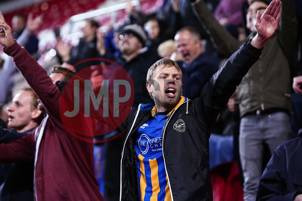 A Shrewsbury Town fan celebrates after a last minute winner to beat Rotherham United - Mandatory by-line: Ryan Crockett/JMP - 18/11/2017 - FOOTBALL - Aesseal New York Stadium - Rotherham, England - Rotherham United v Shrewsbury Town - Sky Bet League One