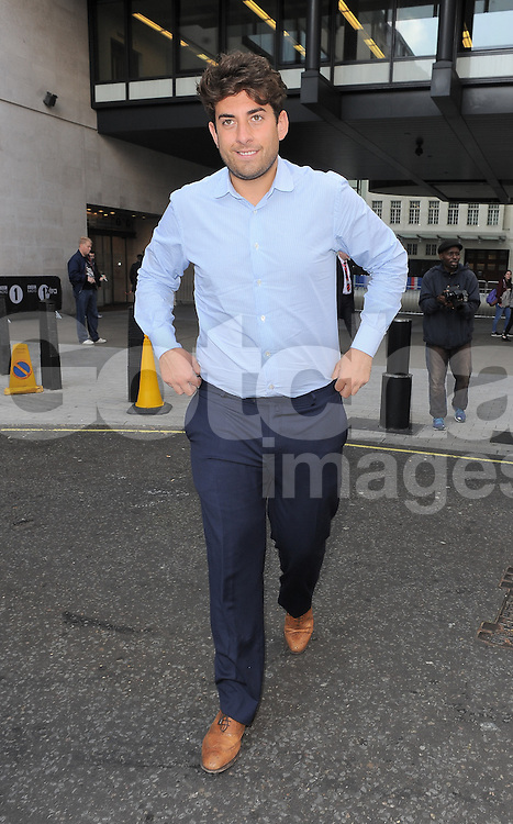 TOWIE star James Argent leaving BBC Radio 1 in central London, UK. 03/10/2014<br />