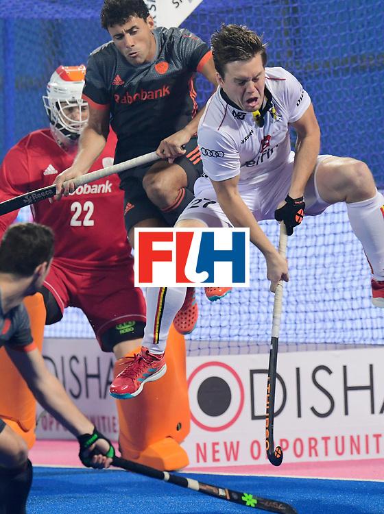 Odisha Men's Hockey World League Final Bhubaneswar 2017<br /> Match id:12<br /> Belgium v Netherlands<br /> Foto: Tom Boon (Bel) and Glenn Schuurman jumps.<br /> COPYRIGHT WORLDSPORTPICS FRANK UIJLENBROEK