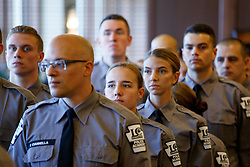 June 15, 2018 - Scranton, PA, United States - Cadets from Lackwanna College Police Academy line up to take seats before Attorney General Jeff Sessions delivers remarks on immigration and law enforcement actions. (Credit Image: © Michael Candelori/Pacific Press via ZUMA Wire)