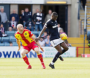 12th May 2018, Dens Park, Dundee, Scotland; Scottish Premier League football, Dundee versus Partick Thistle; Genseric Kusunga of Dundee and Conor Sammon of Partick Thistle