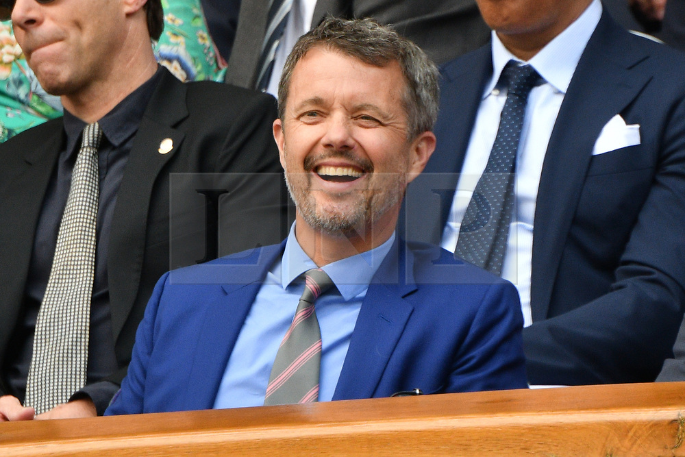 © Licensed to London News Pictures. 01/07/2019. London, UK. HRH Prince Frederick of Denmark watches tennis from the centre court Royal Box of the Wimbledon Tennis Championships 2019 on Day 1 held at the All England Lawn Tennis and Croquet Club. Photo credit: Ray Tang/LNP