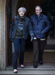 © Licensed to London News Pictures. 19/02/2017. Reading, UK. . British Prime Minister THERESA MAY and her husband PHILIP attend church in her constituency in Berkshire, England. Photo credit: Peter Macdiarmid/LNP