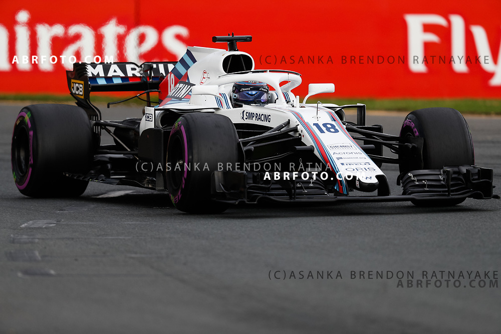 Williams driver Lance Stroll of Canada on Saturday during Qualifying for the 2018 Rolex Formula 1 Australian Grand Prix at Albert Park, Melbourne, Australia, March 24, 2018.  Asanka Brendon Ratnayake