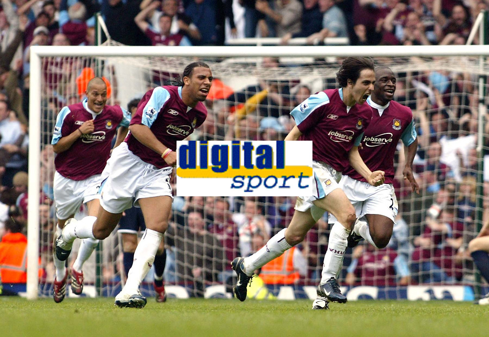 Photo: Chris Ratcliffe.<br /> West Ham United v Tottenham Hotspur. The Barclays Premiership. 07/05/2006.<br /> Goalscorer Yossi Benayoun (R) leads the West Ham celebrations to make it 2-1 to West Ham and absolutley ruin Spurs day .