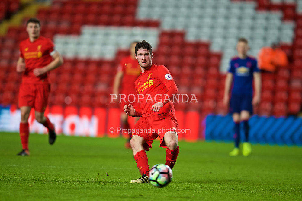 LIVERPOOL, ENGLAND - Monday, January 16, 2017: Liverpool's Corey Whelan in action against Manchester United during the FA Premier League 2 Division 1 Under-23 match at Anfield. (Pic by David Rawcliffe/Propaganda)