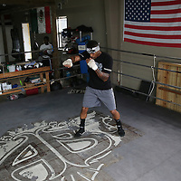"WINTER HAVEN, FL - MAY 05: Boxer Willie Monroe Jr. works out at the Winter Haven Boxing Gym on May 5, 2015 in Winter Haven, Florida. Monroe will challenge middleweight world champion Gennady ""GGG"" Golovkin for the WBA world championship title in Los Angeles on May 16.  (Photo by Alex Menendez/Getty Images) *** Local Caption *** Willie Monroe Jr."