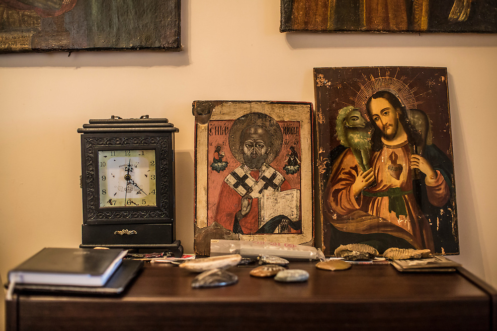 ODESSA, UKRAINE - MARCH 26, 2015: Religious icons collected by poet Boris Khersonsky adorn his home office in Odessa, Ukraine. CREDIT: Brendan Hoffman for The New York Times